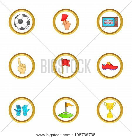 Football news icons set. Cartoon set of 9 football news vector icons for web isolated on white background