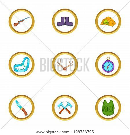 Hunter icons set. Cartoon set of 9 hunter vector icons for web isolated on white background
