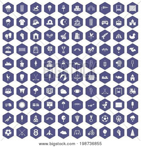 100 childrens playground icons set in purple hexagon isolated vector illustration