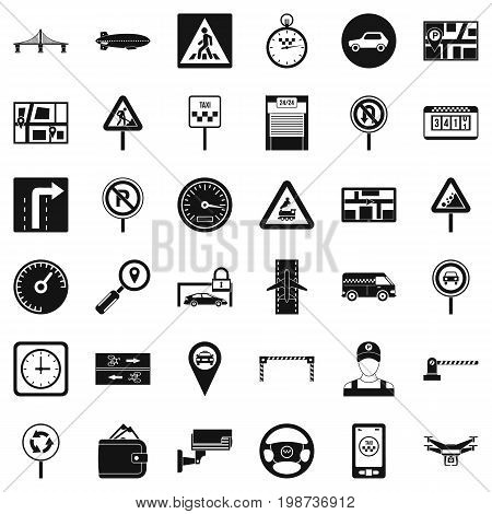 Hard traffic icons set. Simple style of 36 hard traffic vector icons for web isolated on white background