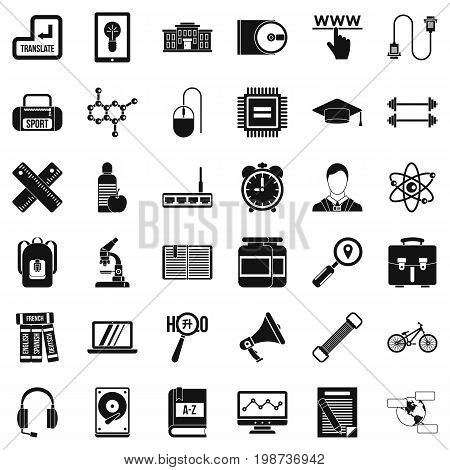 Training icons set. Simple style of 36 training vector icons for web isolated on white background