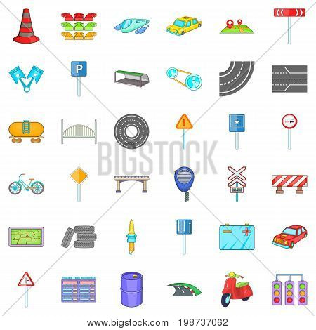Crossroad icons set. Cartoon of 36 crossroad ector icons for web isolated on white background