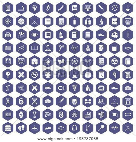 100 college icons set in purple hexagon isolated vector illustration
