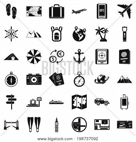 Hiking icons set. Simple style of 36 hiking vector icons for web isolated on white background