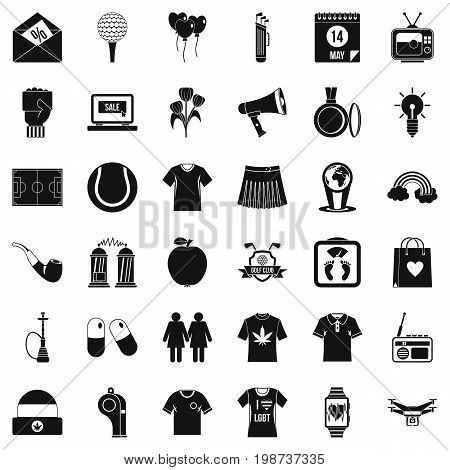 Man polo icons set. Simple style of 36 man polo vector icons for web isolated on white background