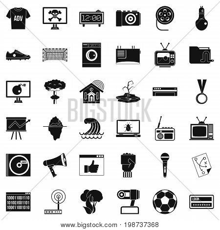 Television set icons set. Simple style of 36 television set vector icons for web isolated on white background