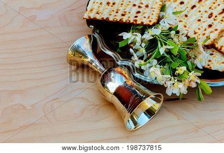 Jewish holiday Pesah celebration concept. Jewish Passover holiday matzah.