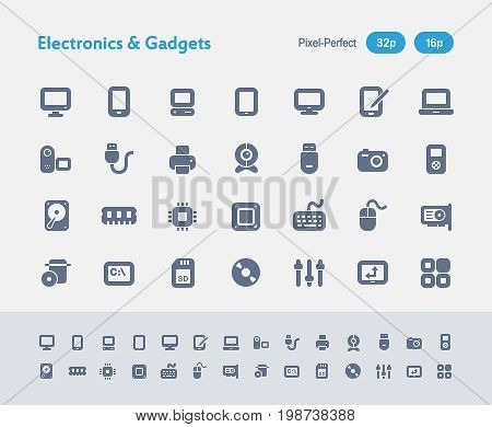 Electronics And Gadgets - Ants Icons  A set of 28 professional, pixel-perfect vector icons designed on a 32x32 pixel grid and redesigned on a 16x16 pixel grid for very small sizes.