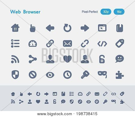 Web Browser - Ants Icons  A set of 28 professional, pixel-perfect vector icons designed on a 32x32 pixel grid and redesigned on a 16x16 pixel grid for very small sizes.