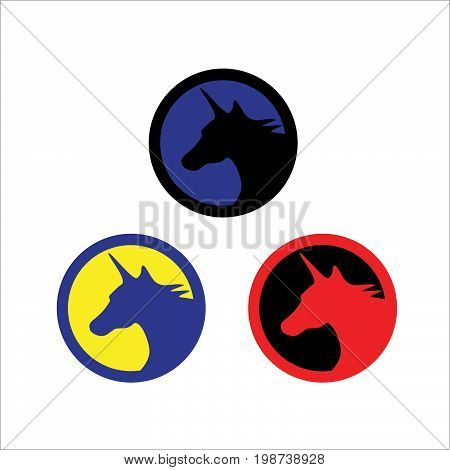 Three sets vector logo of unicorn sillhouette