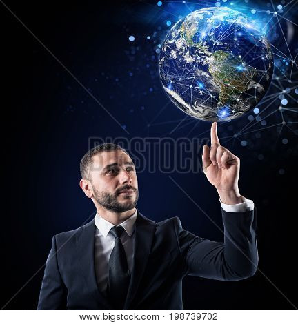 Worldwide internet connection concept. World provided by NASA