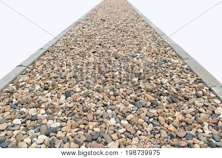 Perspective Rounded rocks stones Grades road isolate on white background