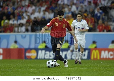 INNSBRUCK - JUNE 10: Cesc Fabregas of Spain Football National Team during the match Spain-Russia 4:1 Euro2008 Group D. Fabregas scored the last goal for Spain. June 10, 2008, in Innsbruck, Austria
