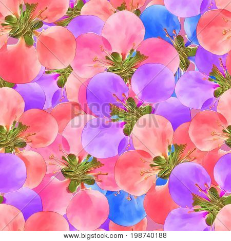 Quince. Texture of flowers. Seamless pattern for continuous replicate. Floral background photo collage for production of textile cotton fabric. For use in wallpaper covers