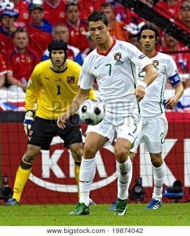 GENEVE - JUNE 11: Petr Cech n.1 Czech Republic, Cristiano Ronaldo n.7,Nuno Gomes n.21 Portugal match Czech Republic-Portugal 1:3 Euro2008 GroupA June 11, 2008, Stade de Geneve, Geneve, Switzerland
