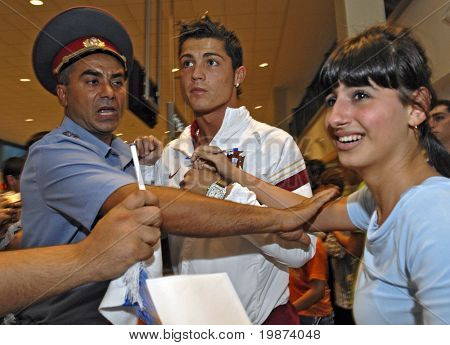 YEREVAN - AUGUST 20: Cristiano Ronaldo, Portugal football star arrives at Armenia's Zvartnots Airport for UEFA EURO2008 Group 9 Qualifying match, Armenia-Portugal. August 20, 2007, in Yerevan, Armenia