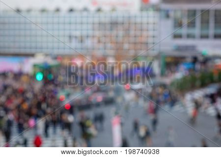 Defocused Of Shibuya Crossing With People