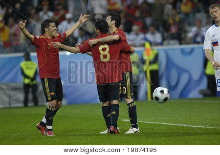 INNSBRUCK - JUNE 10: Cesc Fabregas, Villa and Xavi of Spain Football National Team during the match Spain-Russia 4:1 Euro2008 Group D. June 10, 2008, in Innsbruck, Austria