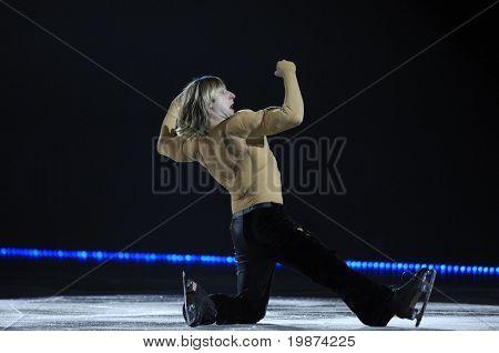 YEREVAN, ARMENIA - DEC 27: Evgeni Plushenko in Yerevan Sport and Concert Hall after Karen Demirchyan in the show ''Golden Ice of Stradivarius''. December 27, 2008, in Yerevan, Armenia