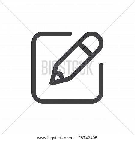 Write line simple icon, outline vector sign, linear style pictogram isolated on white. Edit, new note symbol, logo illustration. Editable stroke. Pixel perfect vector graphics