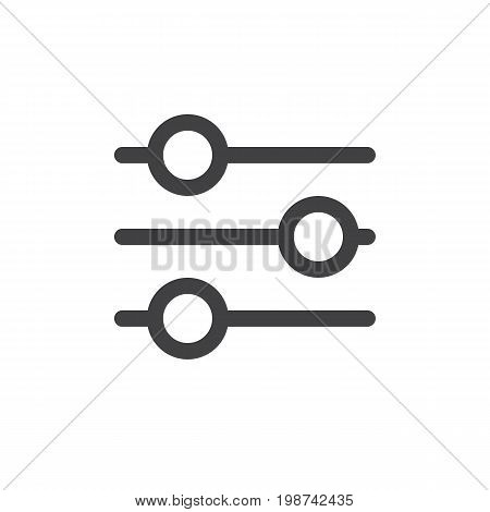 Settings sliders line simple icon, outline vector sign, linear style pictogram isolated on white. Preferences symbol, logo illustration. Editable stroke. Pixel perfect vector graphics