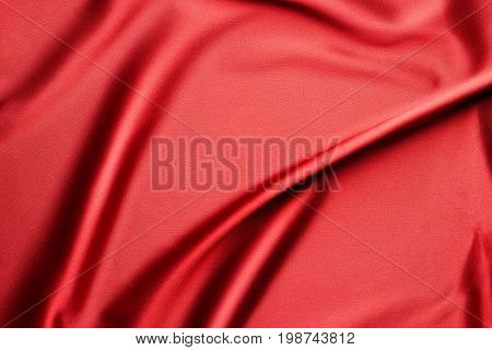 Rippled red silk fabric - texture background