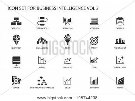 Business intelligence (BI) vector icon set with symbols