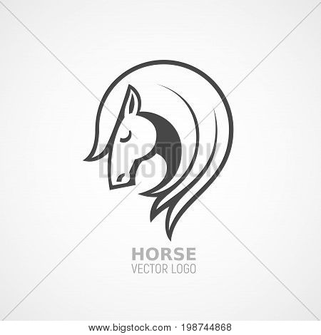 Vector logo with horse head in side view. Eps8. RGB. Global color