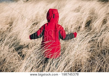 Child in a hooded jacket playing in a dry grass. kid in a red jacket alone in a field