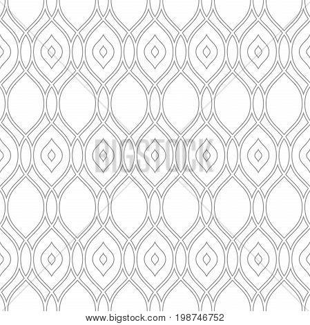 Seamless ornament. Modern background. Geometric pattern with repeating silver wavy lines