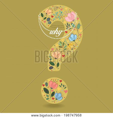 Yellow Question Mark with Folk Floral Decor. Colorful watercolor flowers and plants. Small hearts. Graceful pearl necklace with text. Illustration