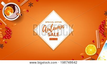 Orange web banner for autumn seasonal sale. Top view on composition with cup of mulled wine, rowan, cinnamon sticks on orange background. Vector illustration.
