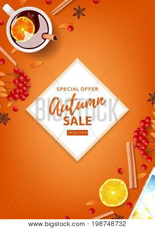 Orange flyer for autumn seasonal sale. Top view on composition with cup of mulled wine, rowan, cinnamon sticks on orange background. Vector illustration.