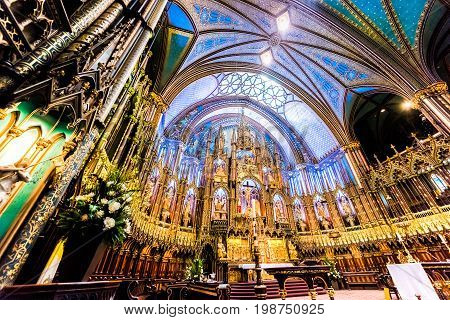 Montreal Canada - May 28 2017: Inside Notre Dame Basilica and detailed altar architecture