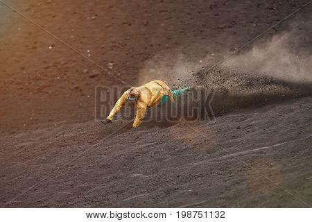 Man fall from sandboard in volcano Cerro Nicaragua poster