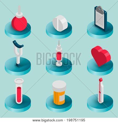 Medical flat isometric set. Health care. Vector illustration, EPS 10