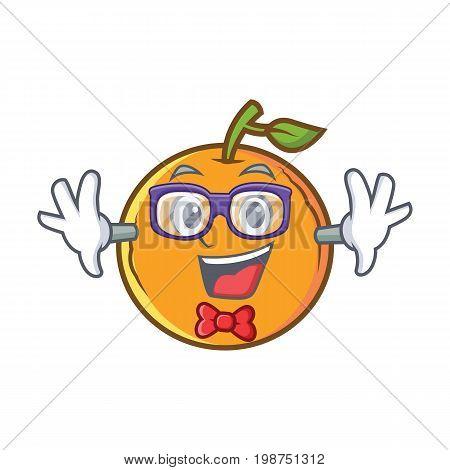 Geek orange fruit cartoon character vector illustration