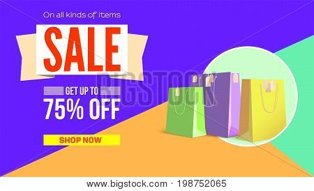 Summer sale flat design poster. Selling ad banner on tricolor flat background with shopping bags. Summer super vacation discount Sale poster, get up to seventy five percent, flat geometric design