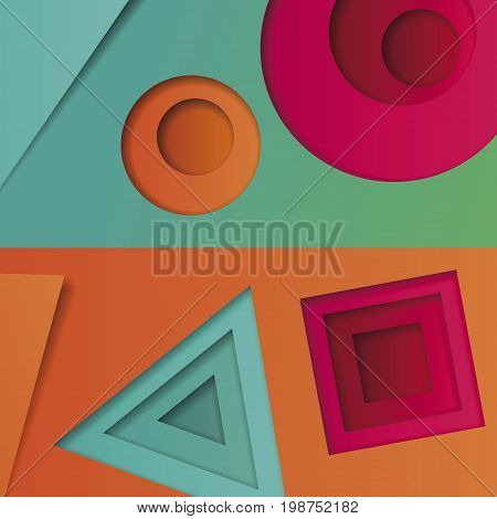Background of multicolored abstract vector in the style of material design with geometric shapes of different sizes. Multilayer circles, triangles, squares on a bright background for banners, advertising, corporate identity, covers.