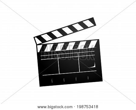 clapperboard illustration, icon design, isolated on white background.