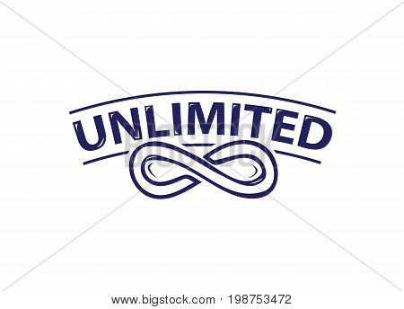 infinity symbol with unlimited word,  icon design, isolated on white background.