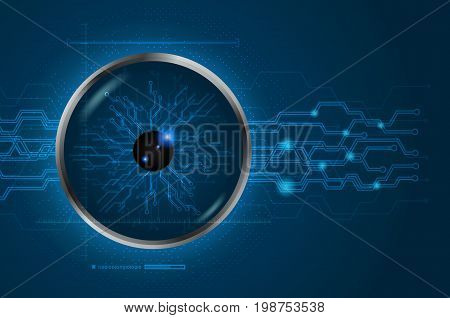 Eye scan concept of digital and technological. Cyber data digital. Blue abstract light hi speed internet technology background Vector illustration
