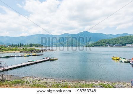 lake kawaguchi view from boat pier for background