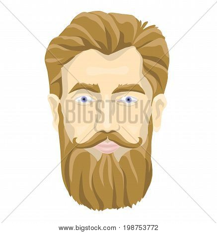 The face of a bearded man. Vector portrait illustration, isolated on white background.