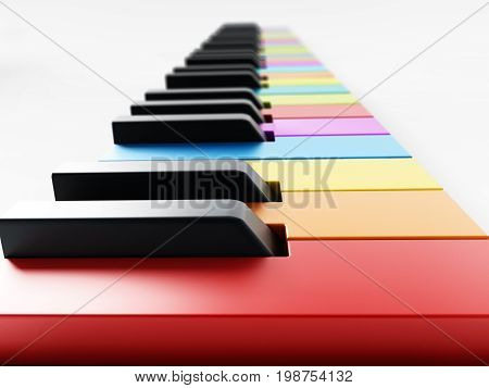 Multi colored piano keys background. 3D illustration.