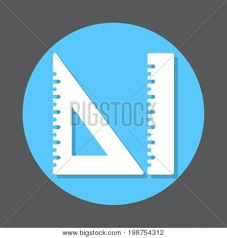 Measurement ruler and triangle ruler flat icon. Round colorful button, circular vector sign, logo illustration. Flat style design