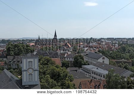 View from castle tower to the city Friedberg, Hesse, Germany