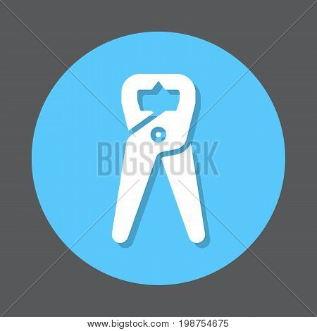 Tongs Pliers flat icon. Round colorful button, Pincers circular vector sign, logo illustration. Flat style design