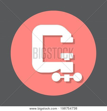 C-clamp flat icon. Round colorful button, Compress circular vector sign, logo illustration. Flat style design