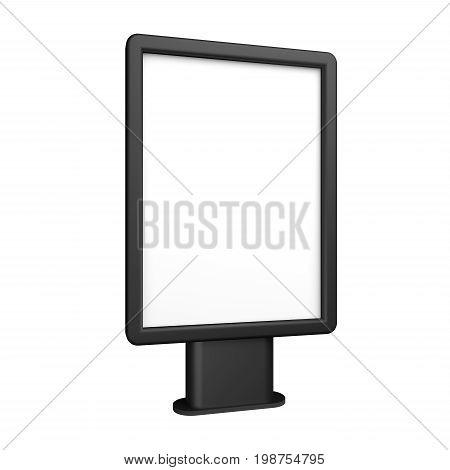 Black blank 3D illustration light box citylight mockup isolated on white.